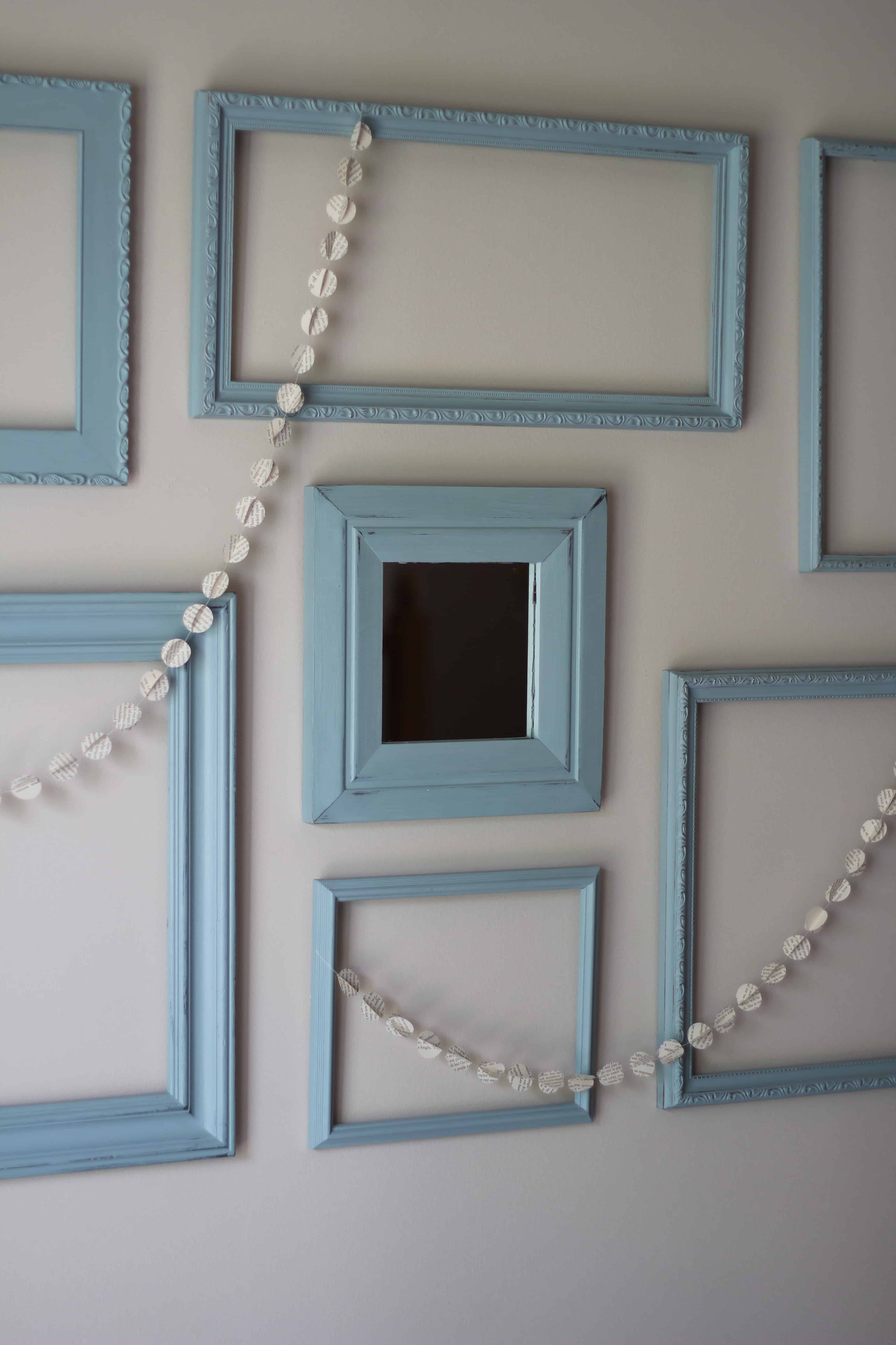 When you are decorating your home on a budget, it helps to get creative. Learn how I made this farmhouse gallery wall using thrifted picture frames and chalk paint.   bellewoodcottage.com