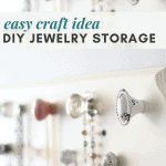 A DIY jewelry organizer made with colorful knobs from Hobby Lobby.