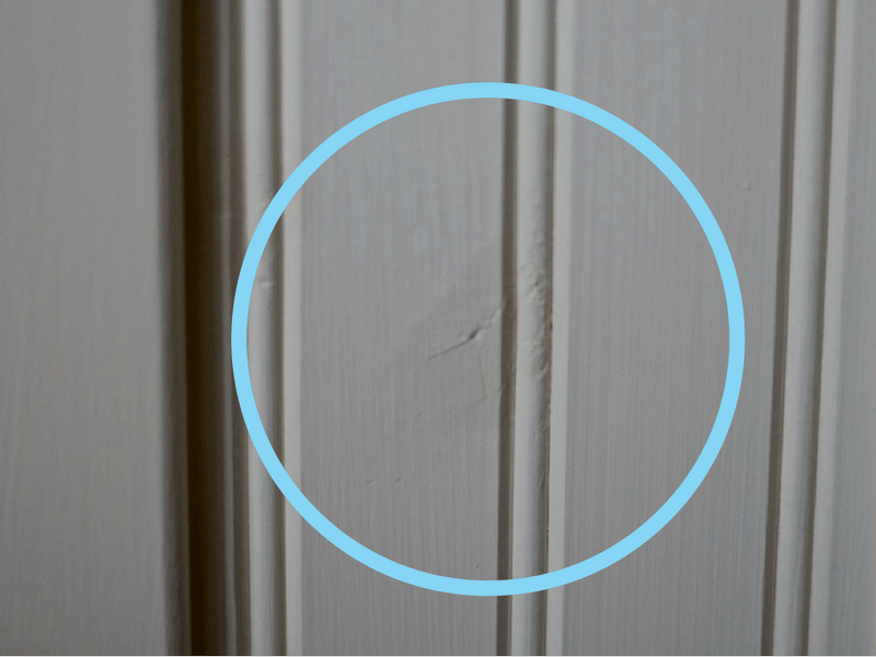 what bleed through looks like on knotty pine