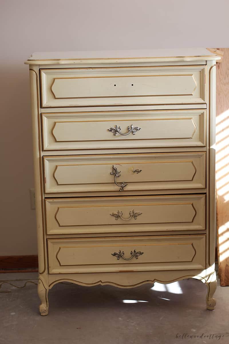 garage sale dresser - before pic