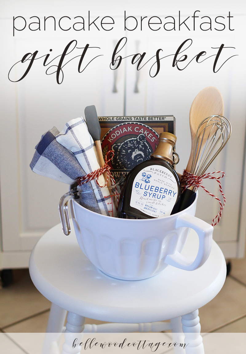 Bridal shower gift idea pancake breakfast gift basket for Bathroom basket ideas for wedding