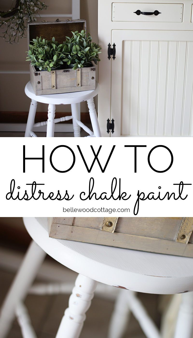 """A chalk painted and distressed farmhouse stool with the words, """"how to distress chalk paint"""""""