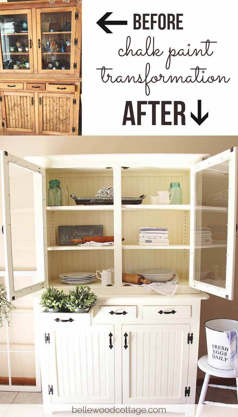 The finished product: How I used chalk paint and stain-blocking primer to transform a hutch made from knotty pine into a piece that exudes cottage charm and farmhouse style