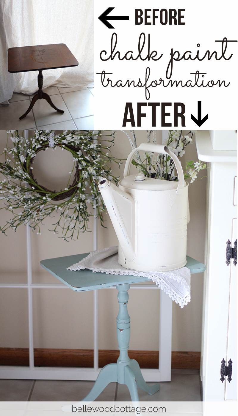 Furniture Rehab from Bellewood Cottage: End table transformation with Annie Sloan Chalk Paint - Before and After