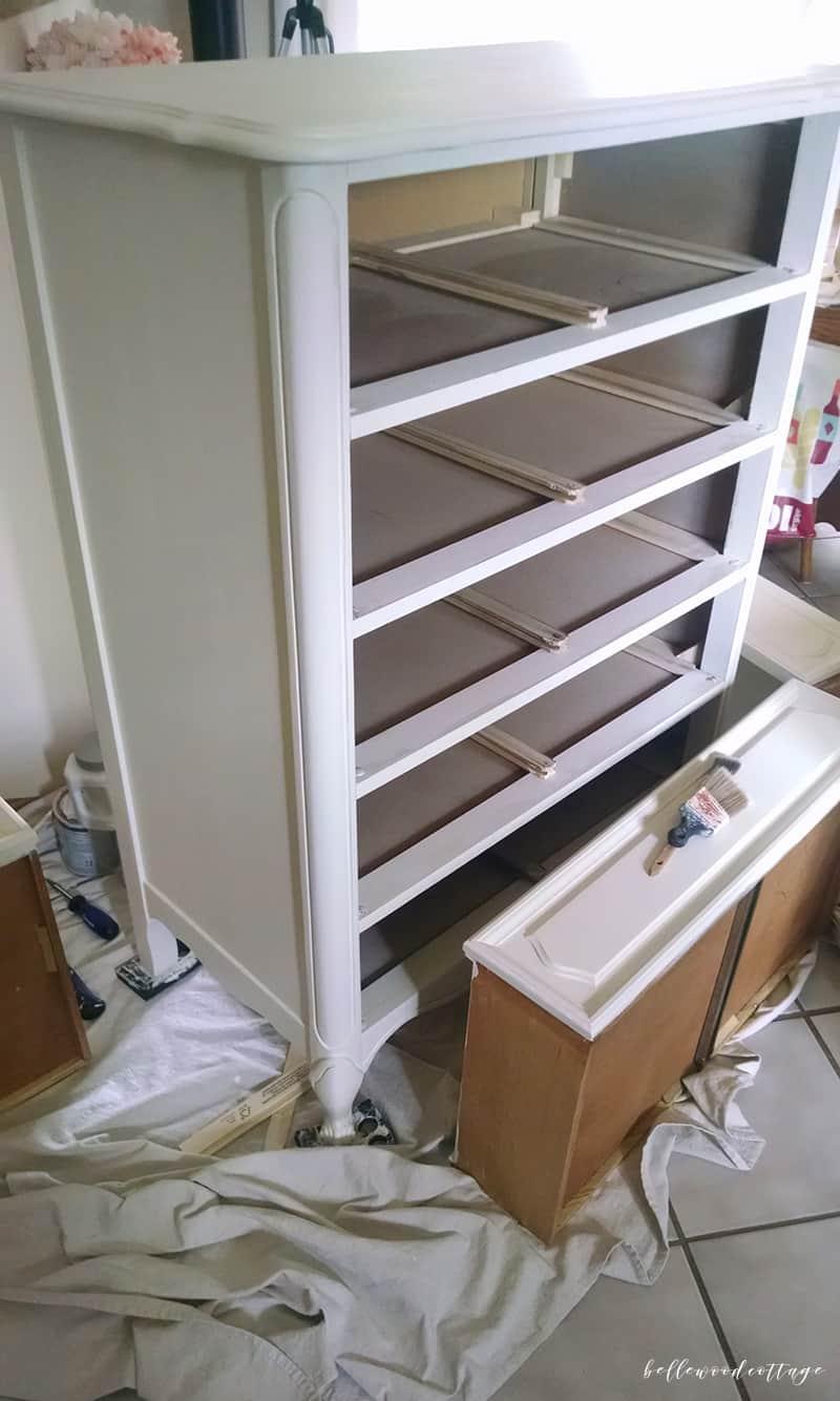 Friday Favorites - chalk painted dresser - progress