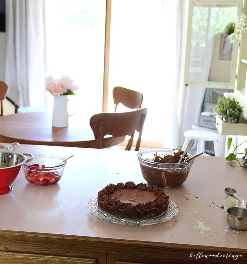 gluten free chocolate cake - assembly