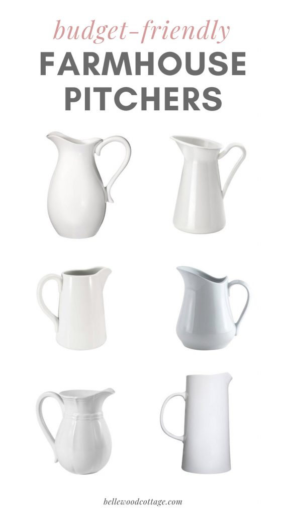 A selection of farmhouse pitchers—white porcelain pitchers.