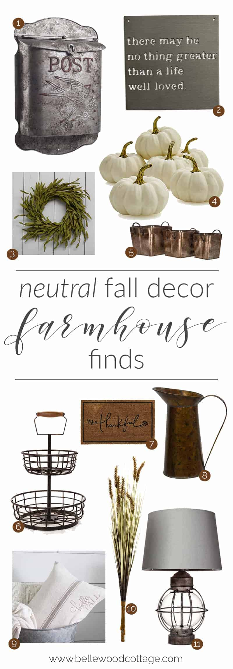 Neutral Fall Farmhouse Decor - Bellewood Cottage