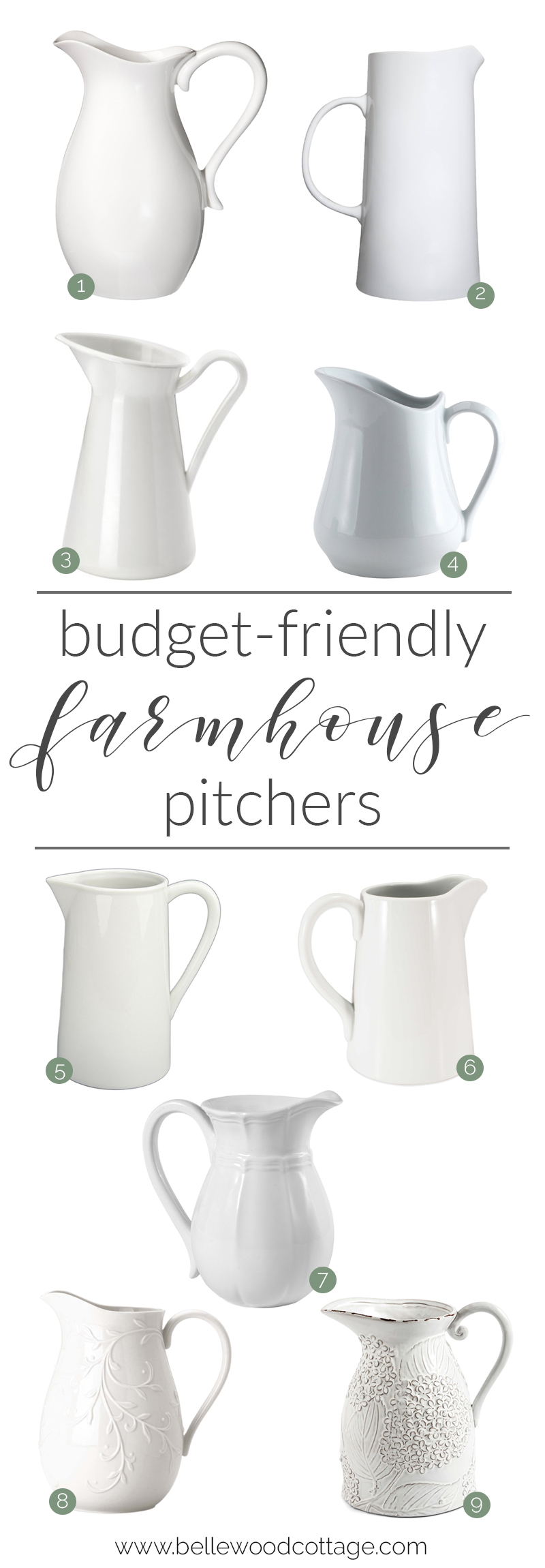 Budget Friendly Farmhouse Pitchers