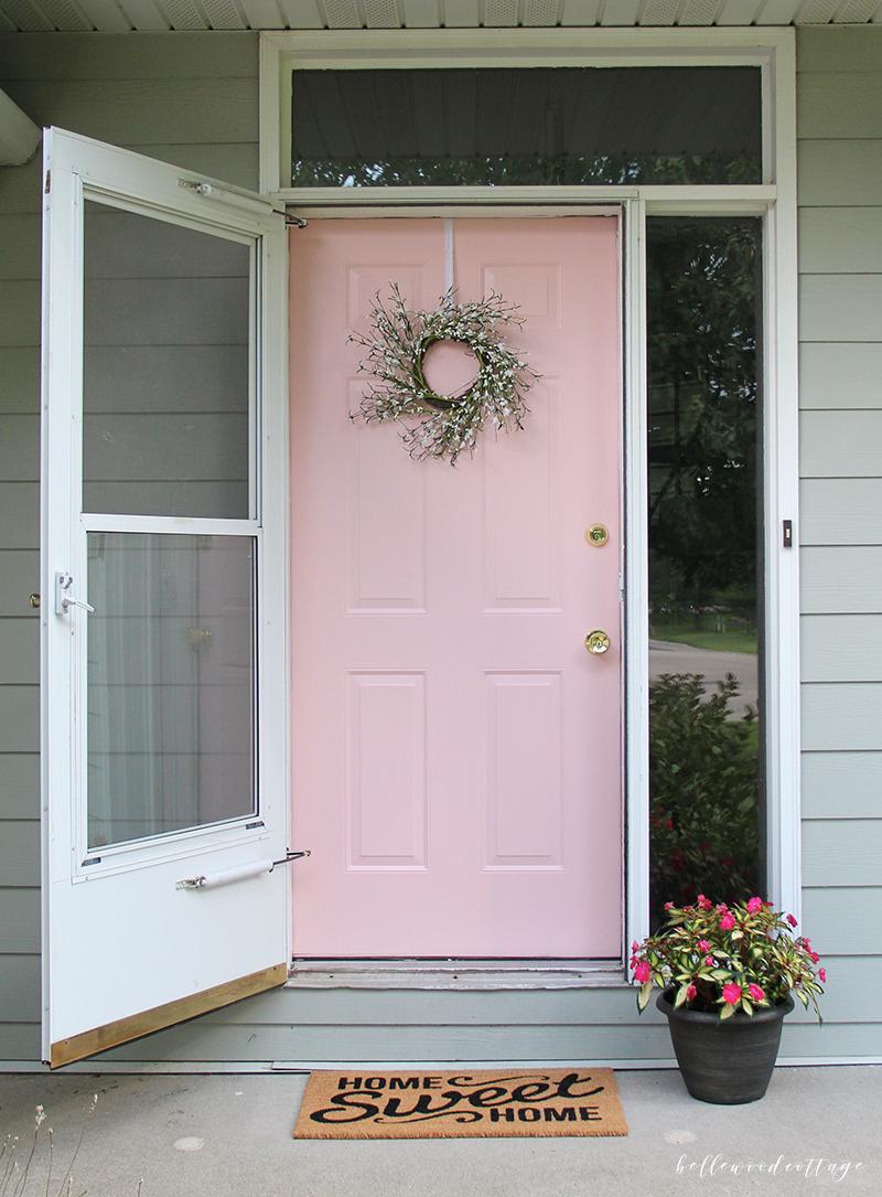 pink front door reveal
