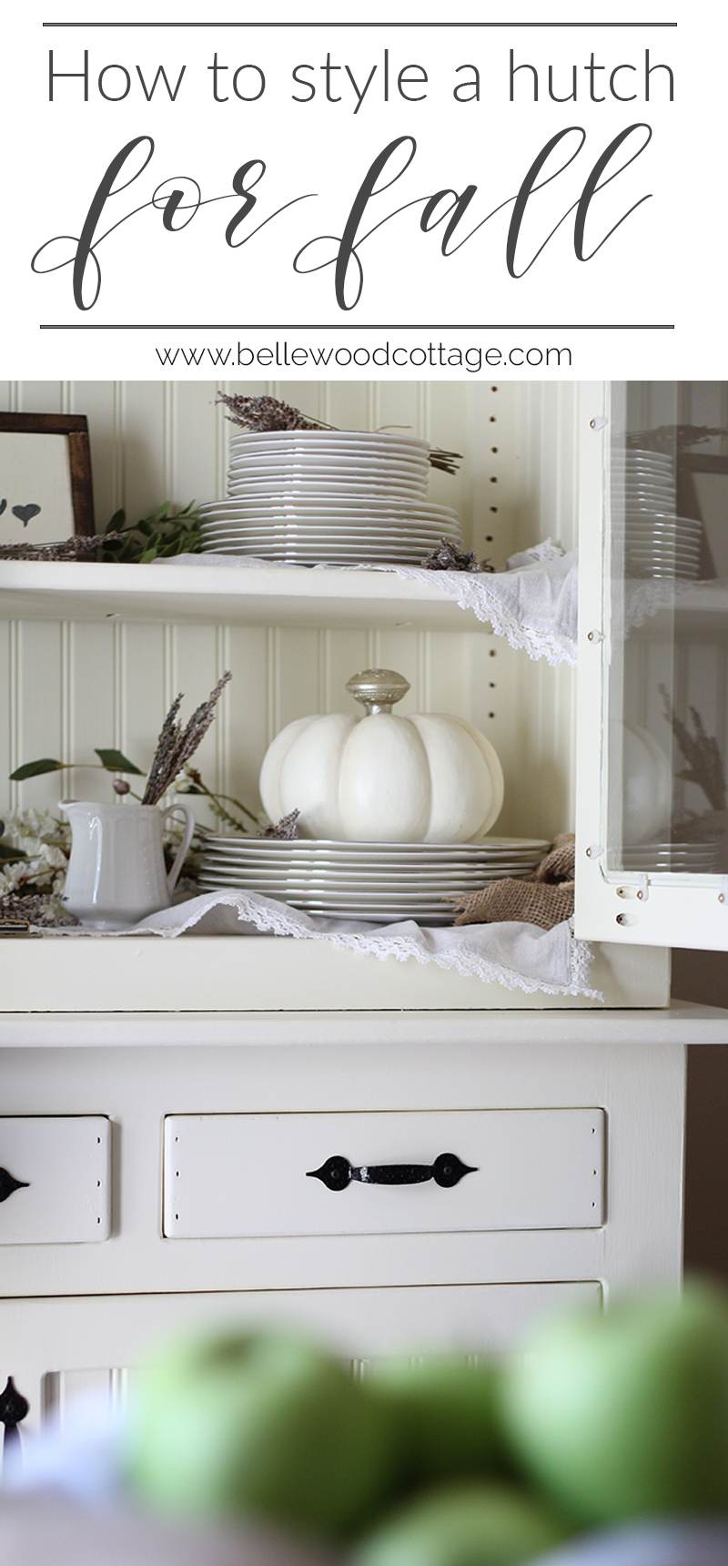 Learn how to maximize your decorating budget and use the decor you already own to style a beautiful fall farmhouse hutch!