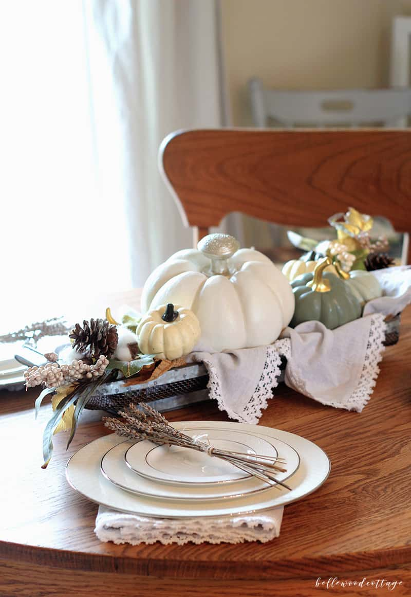 Learn how to make a simple farmhouse style fall table centerpiece using decor items you most likely already have around the house | Bellewood Cottage