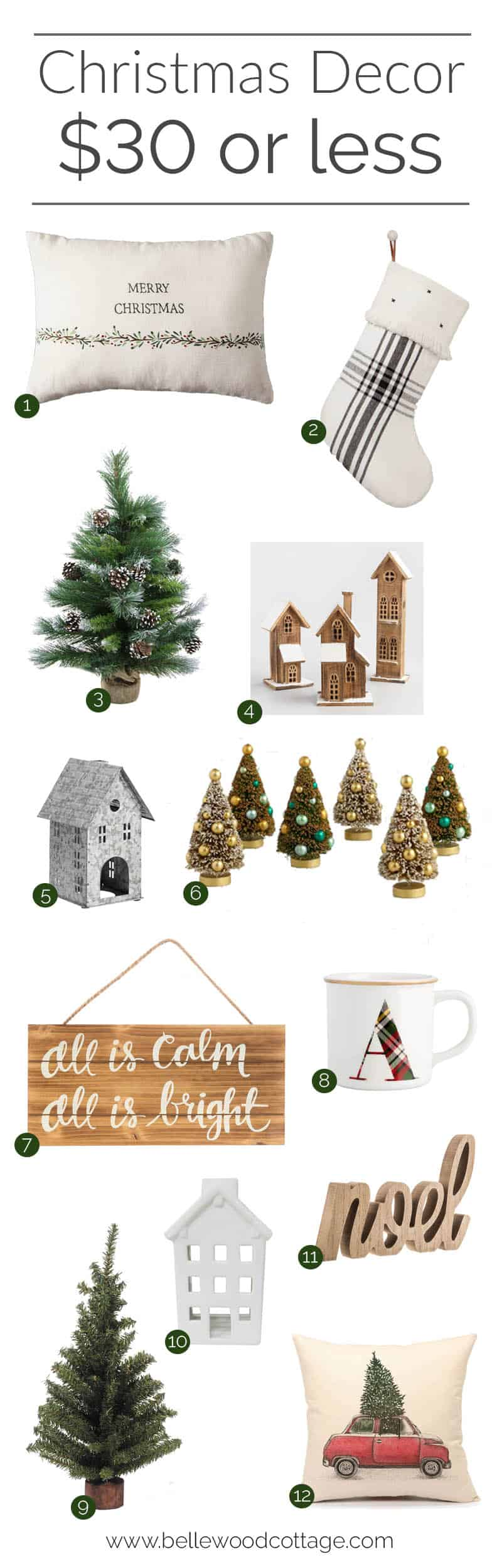 Deck the halls with this round up of budget friendly Christmas decor! Everything is $30 or less, making it easy to stay on budget this holiday season.