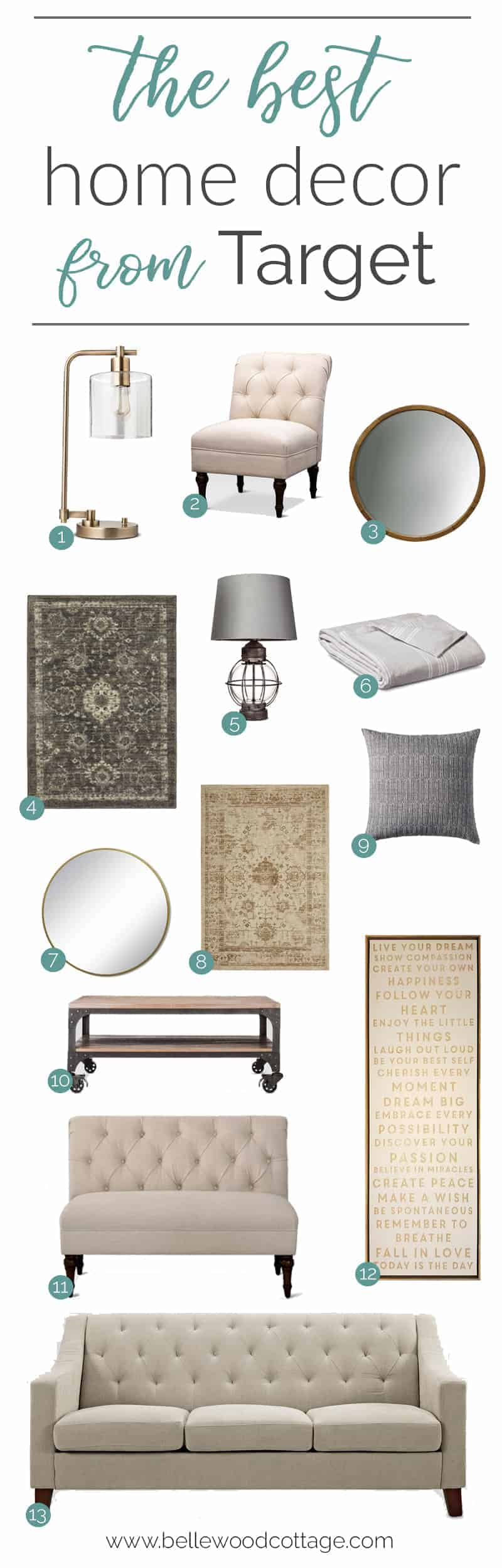 We all love to shop at Target, am I right? Check out this budget friendly round up of some of Target's best home decor. Curated by Bellewood Cottage.