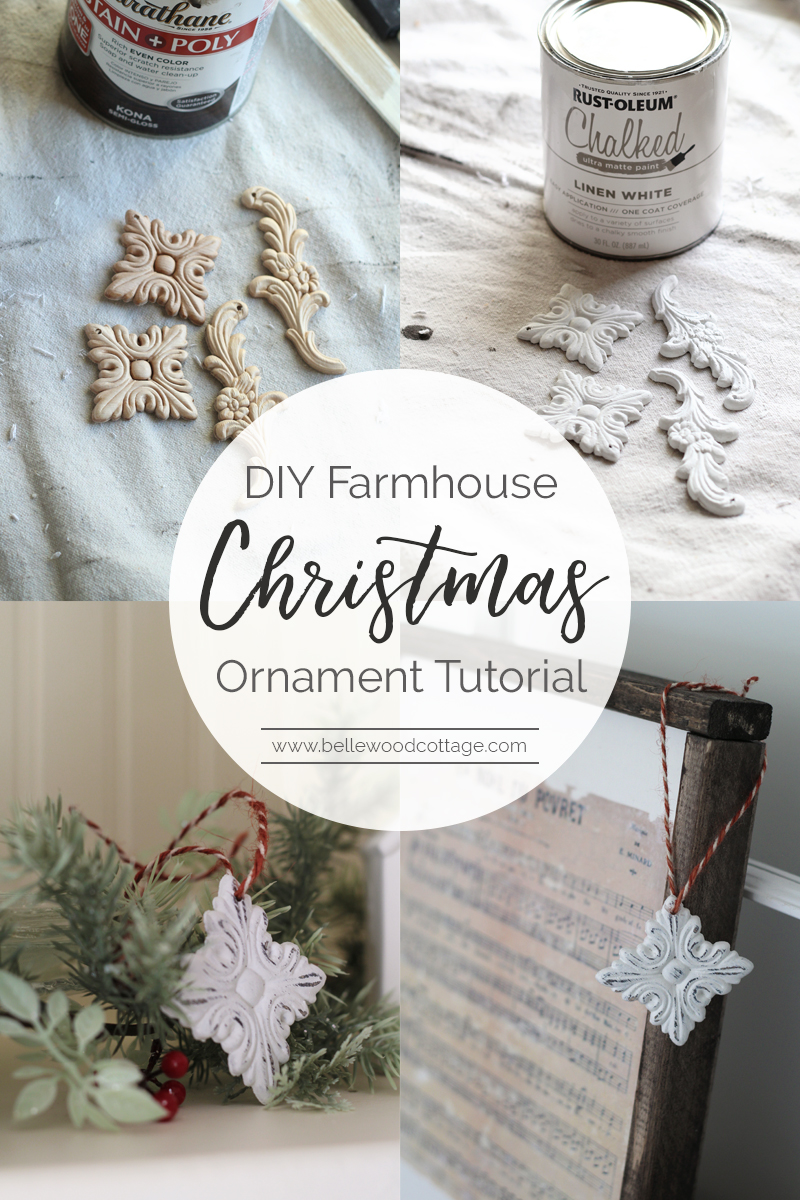 Make this easy DIY Farmhouse Christmas Ornament with supplies including chalk paint and inexpensive wood appliqués. A tutorial from Bellewood Cottage