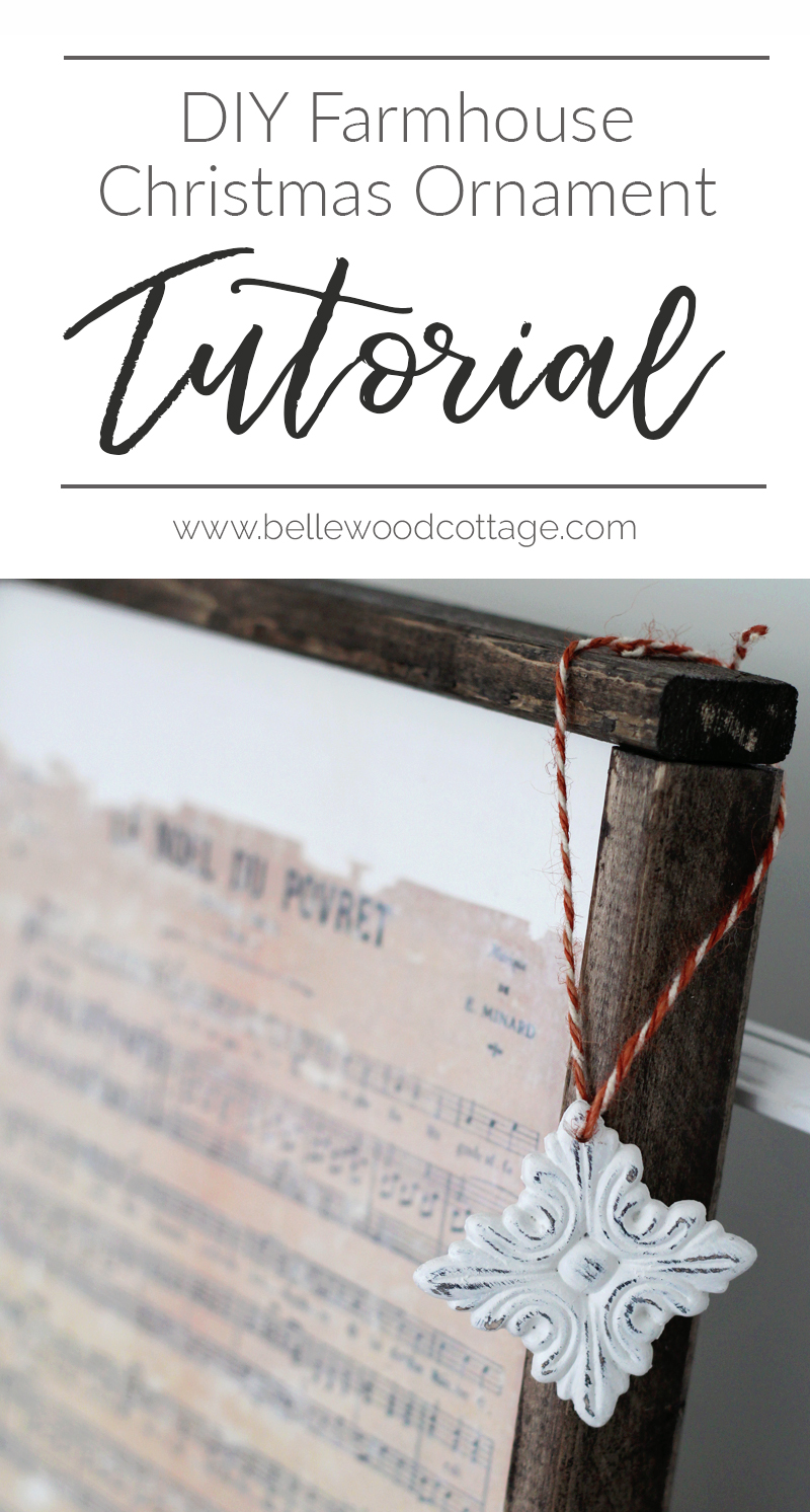 Make this easy DIY Farmhouse Christmas Ornament with supplies including chalk paint and inexpensive wood appliqués. A tutorial from Bellewood Cottage.