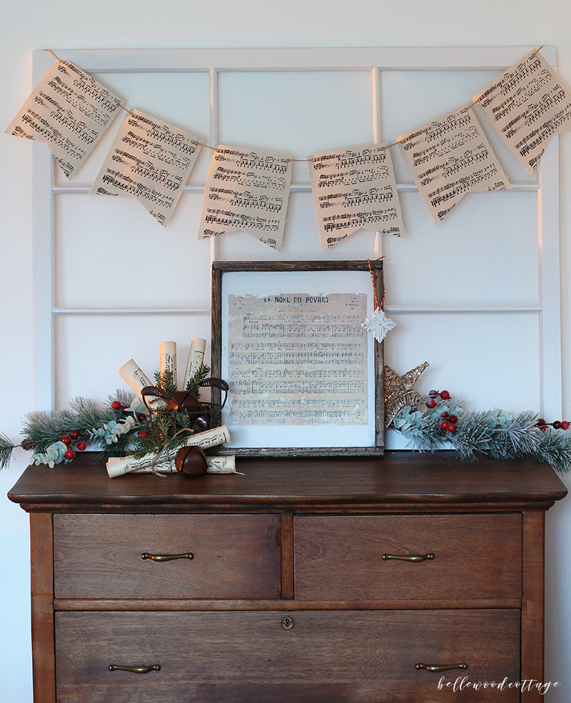 DIY Christmas Sheet Music Decor with Fresh Pine
