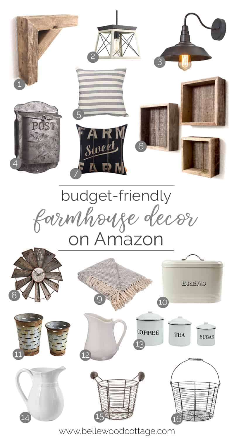 Looking for some budget-friendly decor to freshen up your home? Check out my curated list of farmhouse decor on Amazon. I've found lots of fun accessories and accents for the perfect farmhouse touch! From BellewoodCottage.com