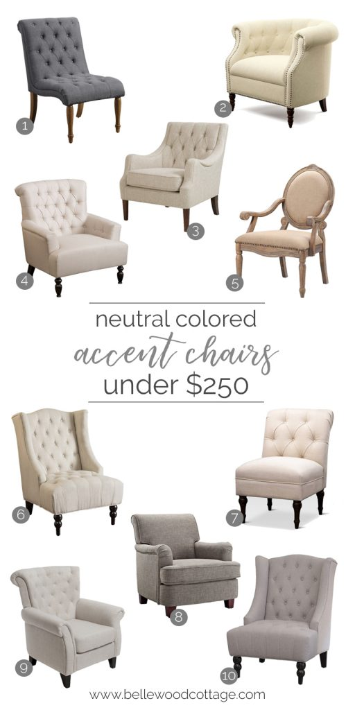 A collage image of neutral accent chairs under $250.