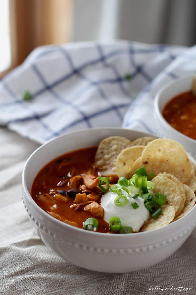 This chicken enchilada soup is everything comfort food should be. It's easy to make (like, do you own a can-opener easy), quick enough for weeknights, and full of rich flavor and spice. It's YUM. Make it todaaaay.