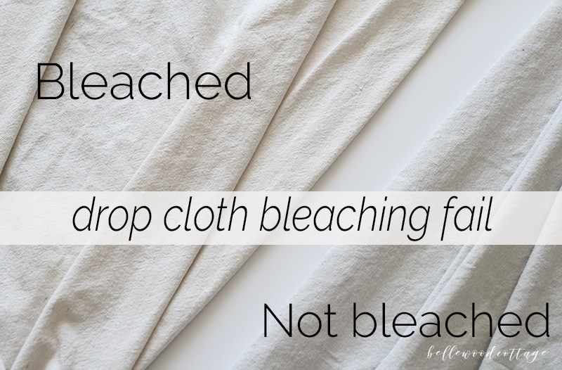 Showing how drop cloths made from a cotton/polyester blend cannot be bleached with a side-by-side comparison.