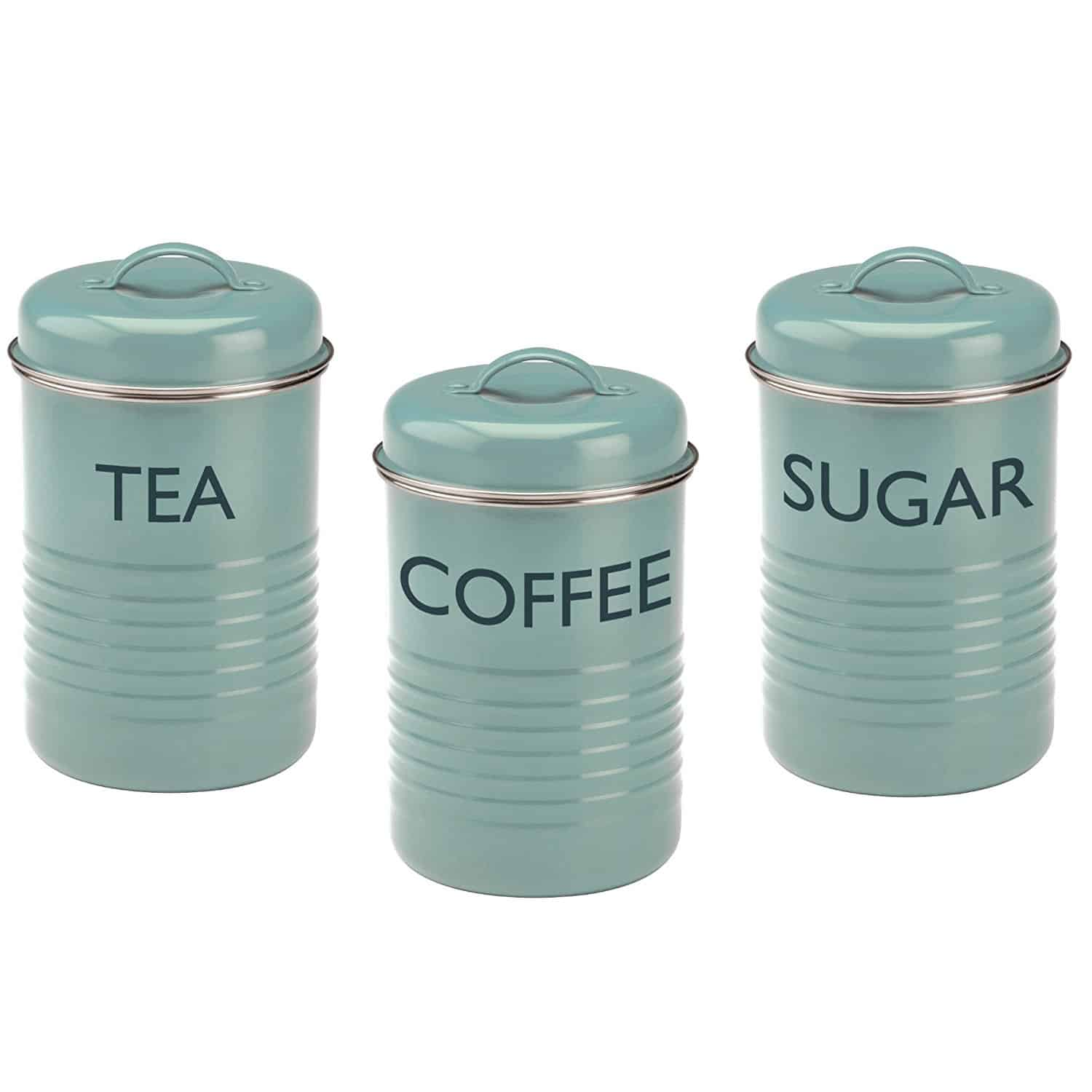 set of three aqua canisters to store tea, coffee, or sugar