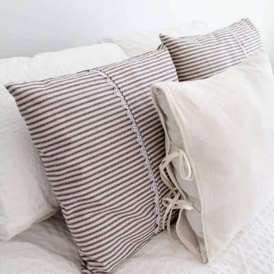 Farmhouse Inspired Ticking Pillow Covers