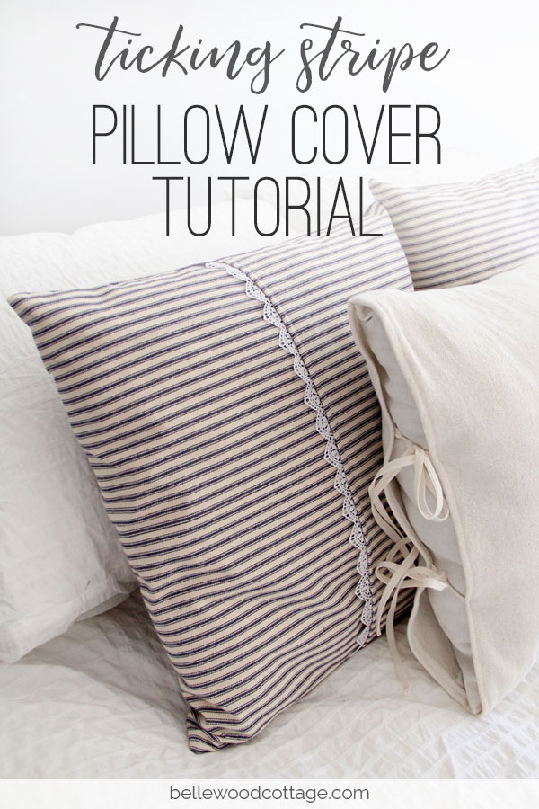 Learn how you can sew farmhouse style pillows with my ticking stripe pillow cover tutorial. This tutorial covers all the steps needed to make these quick and easy-to-sew pillow covers. You'll love the way that ticking stripes give your home an authentic farmhouse vibe!