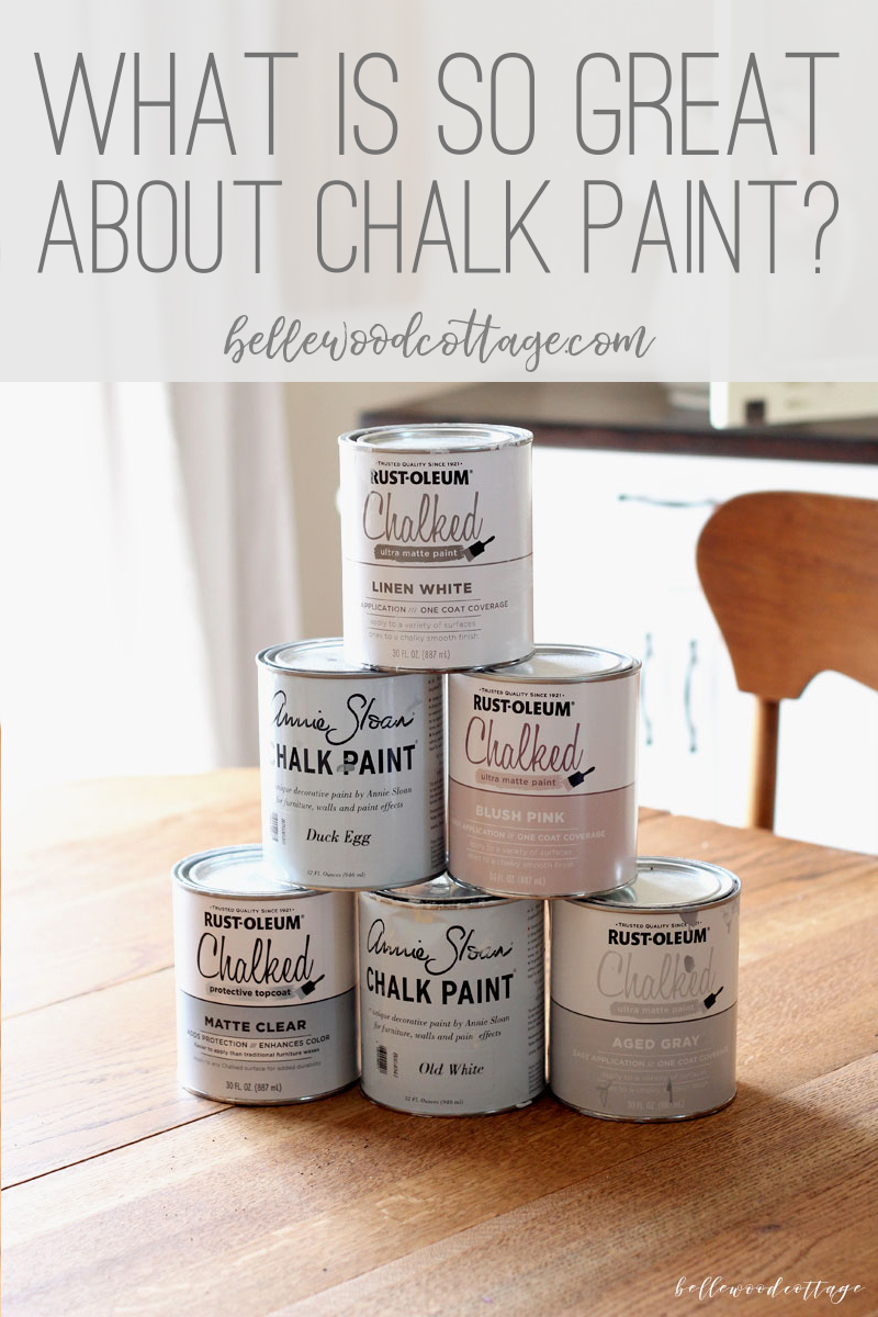 "A stack of chalk style paint cans with the words, ""What is so great about chalk paint?"" on the image."