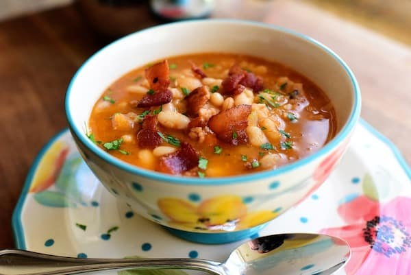 Bean and Bacon Soup from the Pioneer Woman   If you are looking for some practical weeknight dinner ideas, join me at Bellewood Cottage where I'm sharing five of my recent favorites. Meals that are hearty, delicious, and just right for weeknight cooking!