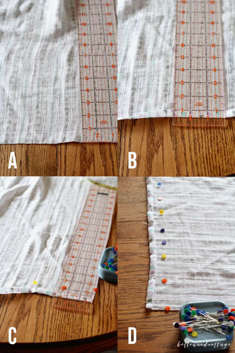 Step-by-step instructions for how to sew a baby swaddle blanket.