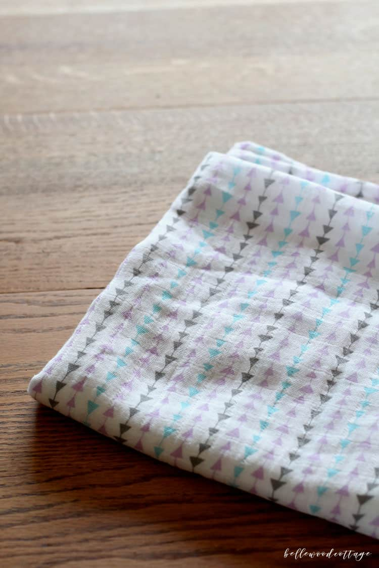 A finished muslin swaddle blanket.