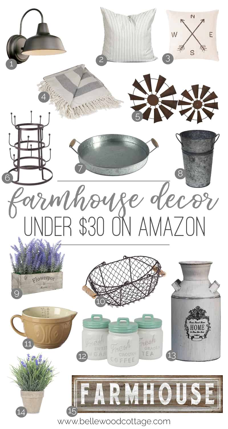 Decorating a home can be costly, but I've rounded up a few of my favorite pieces of farmhouse decor from Amazon under $30 to help you stay under budget!