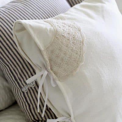 DIY Drop Cloth Pillows with Antique Lace