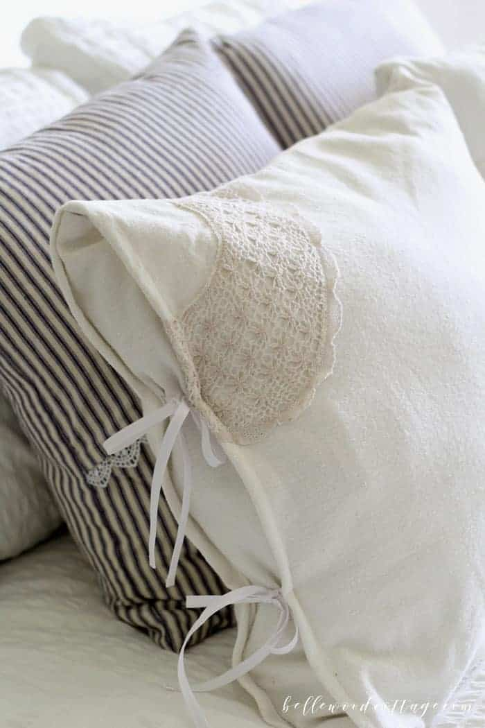 DIY Drop Cloth Pillows with Antique Lace