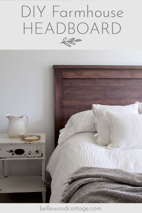 Join me at Bellewood Cottage to learn how to create your own DIY rustic headboard with simple (and inexpensive!) pine boards and milk paint. #BellewoodCottage #diyheadboard #milkpaint #farmhousestyle