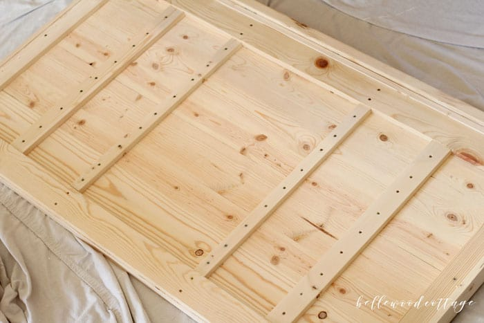 Using non-toxic milk paint to stain raw wood gives great results and is easy to do. Visit BellewoodCottage.com to learn how! #BellewoodCottage #diytutorial #milkpaint #mmsmp #nontoxicpaint