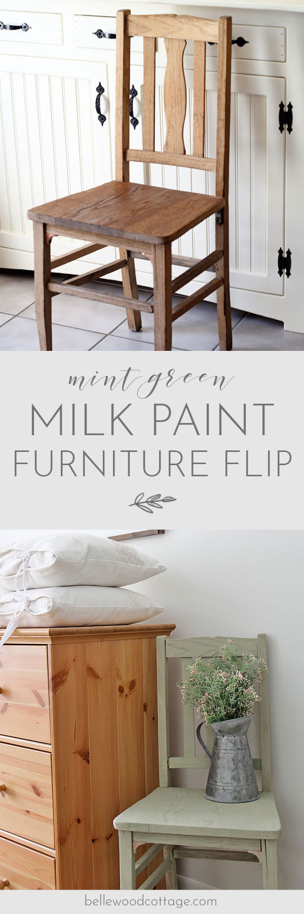 Learn how I used mint green milk paint to give this antique chair new life. A hour or two, some milk paint powder, and a paintbrush is almost all you'll need! #BellewoodCottage #milkpaint #furnitureflip