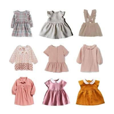 Nine baby girl dresses in pink colors in three by three rows.