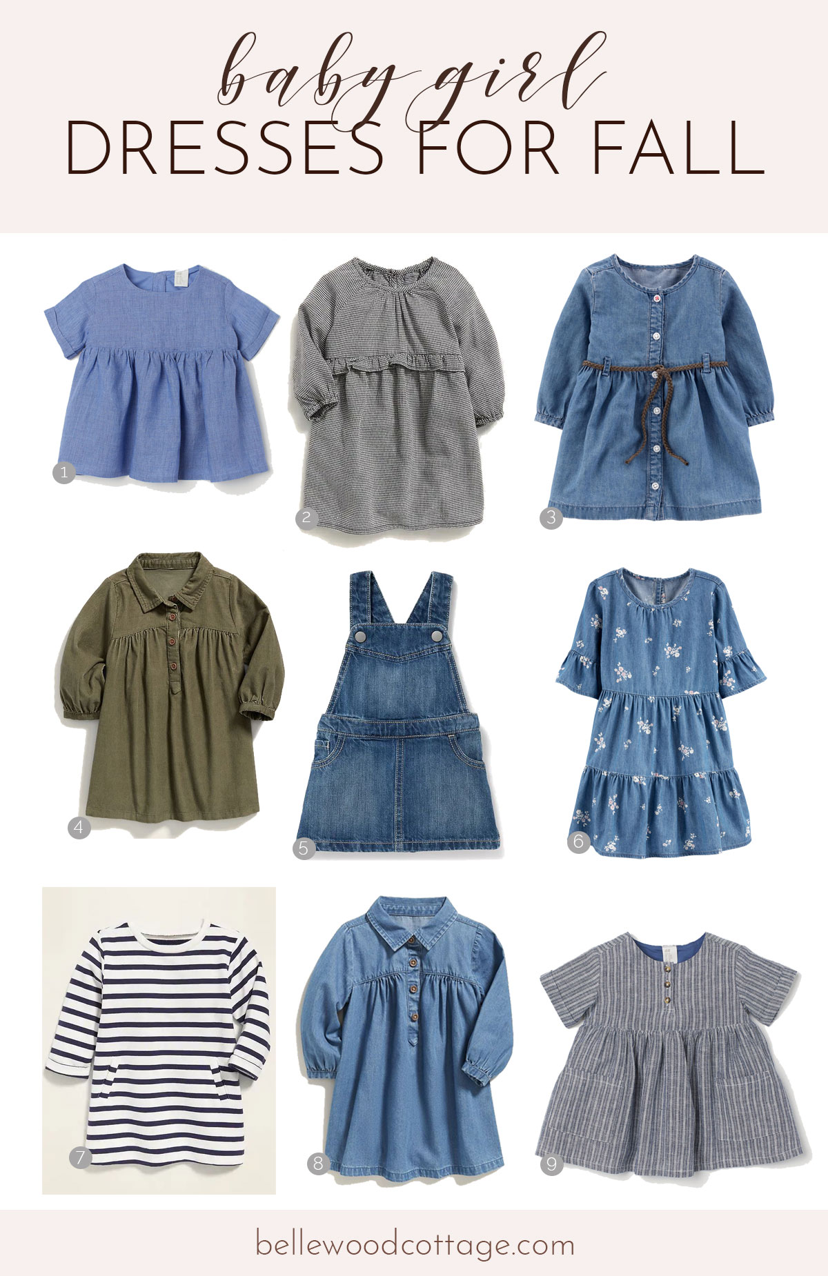 Nine baby girl dresses in blue and green colors in three by three rows.