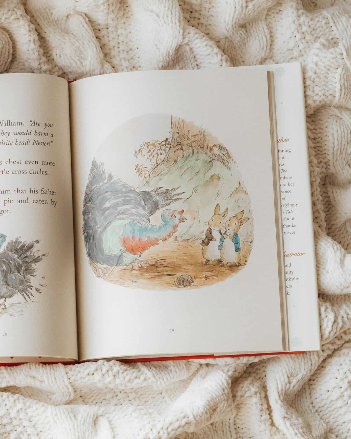 The interior pages of a Peter Rabbit book by Emma Thompson.