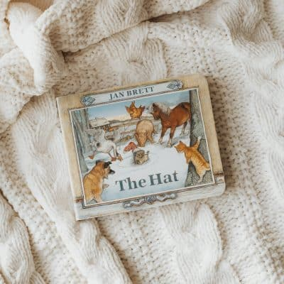 The Hat by Jan Brett, a board book on a knit cabled surface.