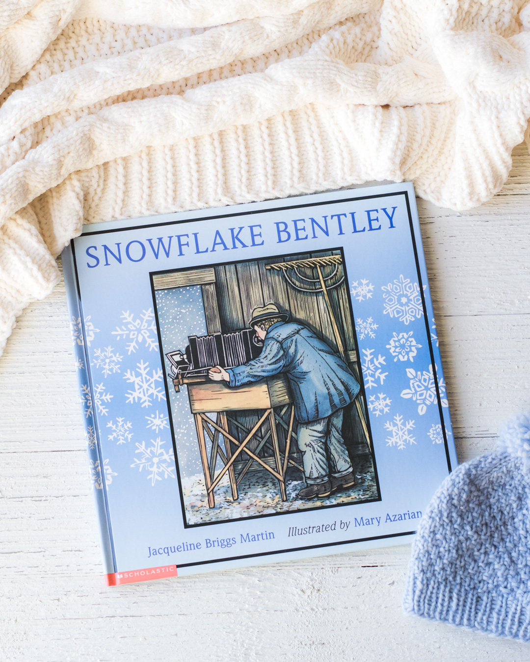 Snowflake Bentley picture book on a white surface.