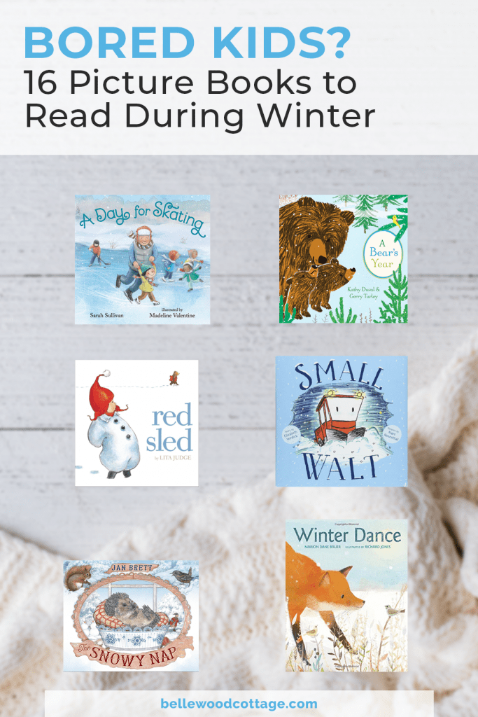 A collage image of several winter picture book cover images with a background of an out-of-focus blanket.