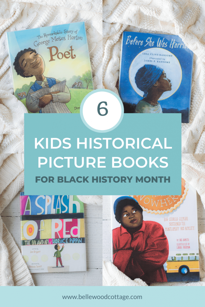 A collage image of four picture books to select for Black History Month.