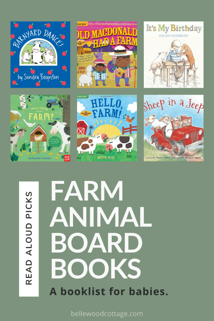 A collage image of farm animal books for babies.