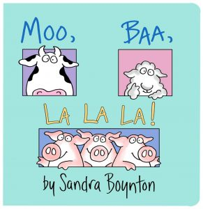 Moo, Baa, La La La book cover.