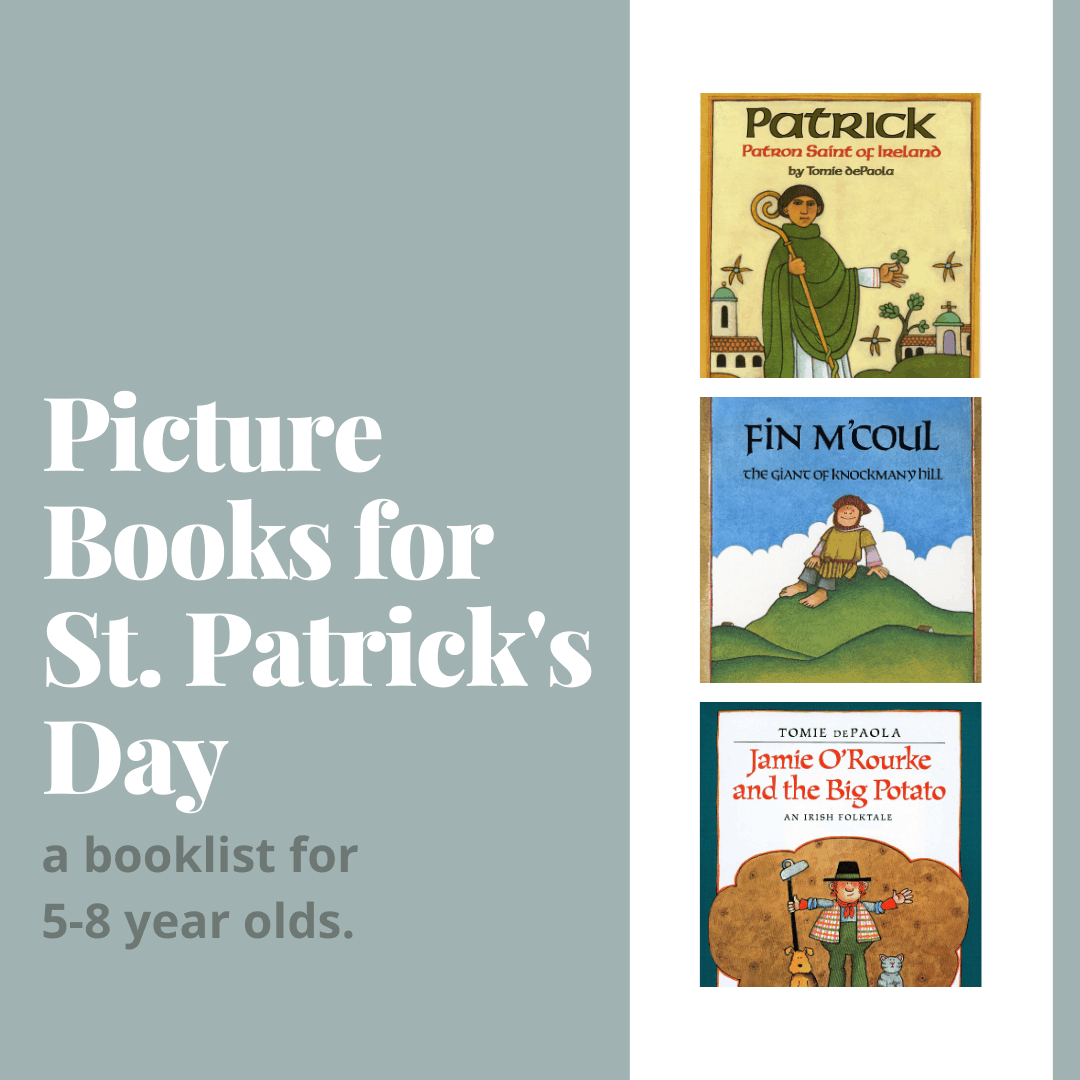 A collage image of St. Patrick's Day Picture Books.