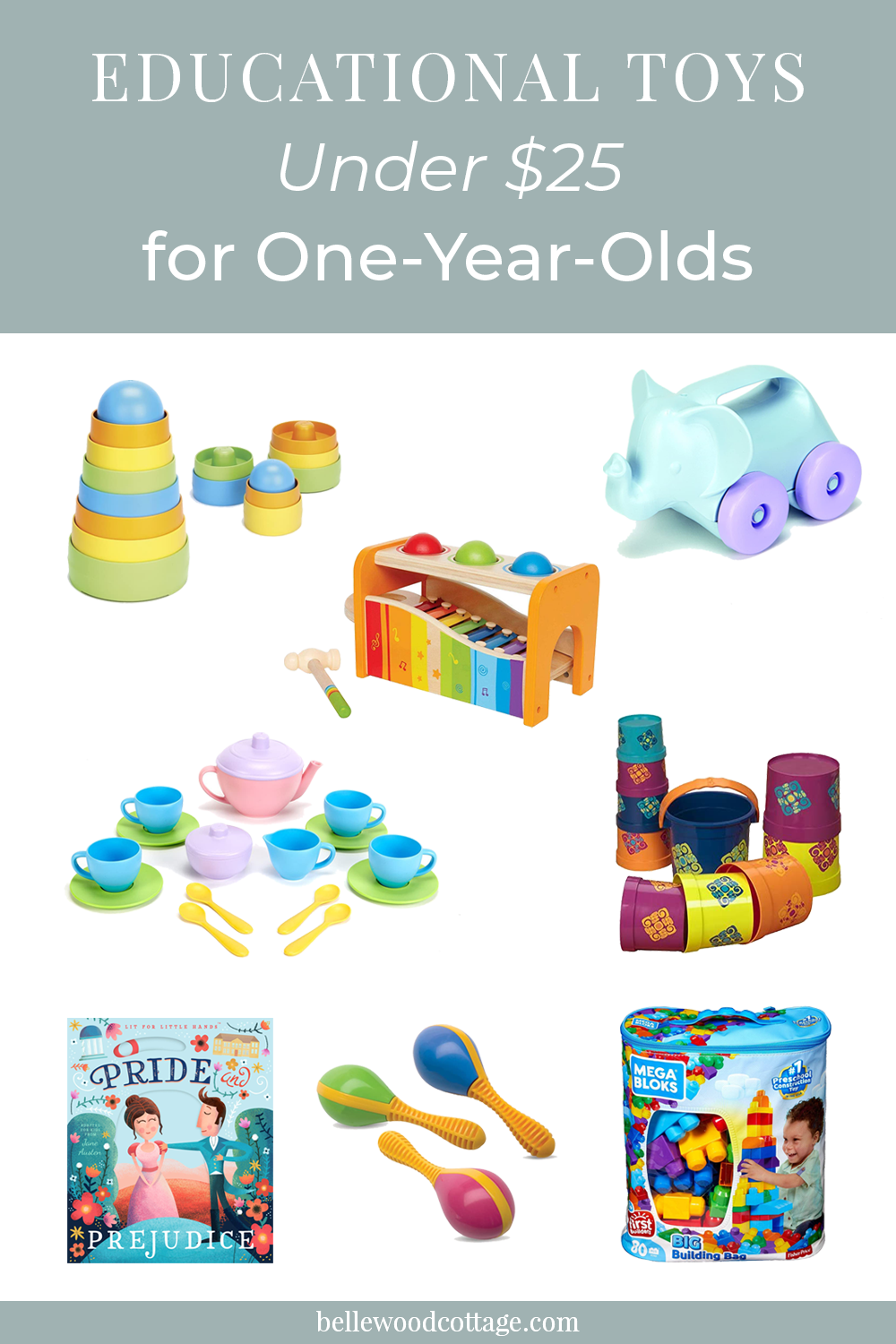 Educational toys under $25 for one-year-old toddlers including stackers, a xylophone, and buckets.