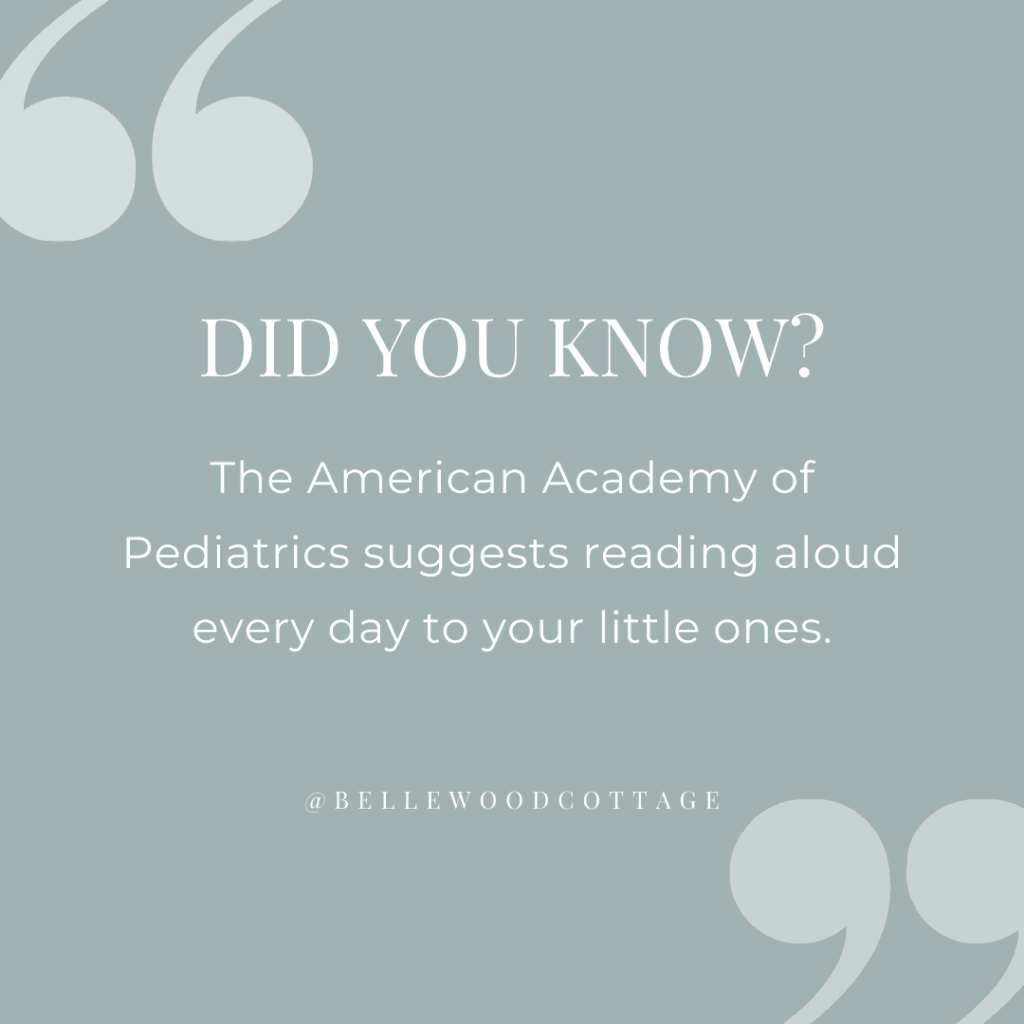 "A quote graphic with the words, ""Did you know? The American Academy of Pediatrics suggests reading aloud every day to your little ones."""